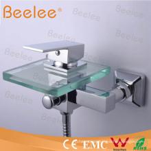 Mezclador Qh0815W de la ducha del grifo de la bañera de cristal de la cascada del montaje de pared