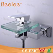 Mitigeur de douche en verre de robinet de baignoire de cascade de bâti de mur Qh0815W