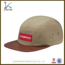 benutzerdefinierte 5-Panel Hüte keine minimale Schlangenleder Krempe Camp Cap mit gewebten Label-Logo