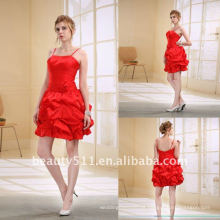 Astergarden moda curvado Ruffled Strap Red Cockrail Party Evening Dress as030