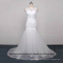 Floor-Length Pleated Tulle Wedding Dress Robe Marriage with Cap Sleeve