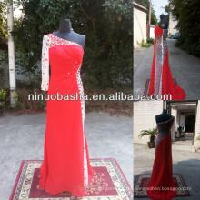 NW-470 Charmoso vestido de noiva com um ombro com molho de chiffon