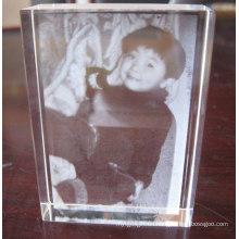 Crystal Cube con 2D láser interno para marco de fotos