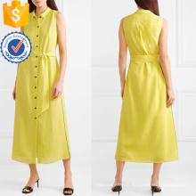 Vente chaude ceinturée sans manches jaune chemise d'été robe Fabrication en gros Fashion femmes vêtements (TA0300D)