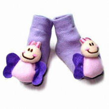 Baby Terry Socks with Bee Toy, Soft, Permeable, Comfortable and Durable, Available in Various Colors