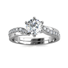 2021 New 925 Sterling Silver 1 Carat Gra Brilliant Moissanite Diamond Les Solitaire Engagement Ring