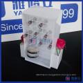 Personalizado blanco y rosa color giratorio acrílico lápiz labial Display Stand
