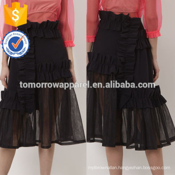 New Fashion Black Frill Applique Summer Mini Daily Skirt DEM/DOM Manufacture Wholesale Fashion Women Apparel (TA5029S)