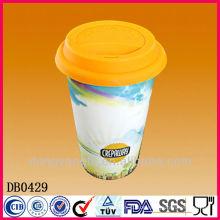 Doppelwand Kaffee Reisebecher mit Silikondeckel, Keramik Kaffeetasse ohne Griff