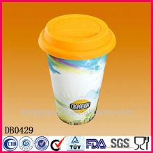 С двойной стенкой кофе кружка с силиконовой крышкой керамическая кружка кофе без ручки