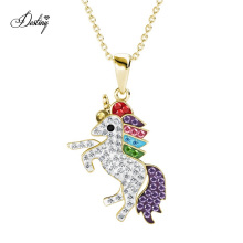 New Arrival Kid Jewelry 2020 Cute Magical Unicorn Pendant Necklace with Premium Grade Crystal From Austria