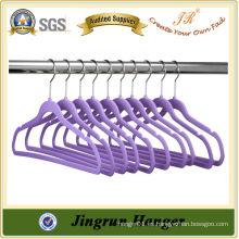 Diseñador púrpura plástico terciopelo percha para la camiseta