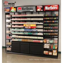 El cliente satisfizo la exhibición del cigarrillo con el empujador al por menor diseña al por mayor los estantes y los soportes de exhibición del E-Cigarro del acoplamiento de alambre del metal