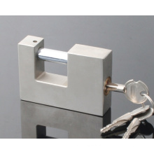 Cadeado de ferro retangular com chaves cruzadas / acabamento em níquel