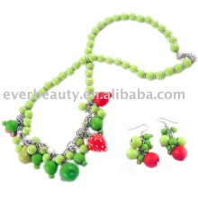 handmade woody bead and acrylic jewelry set