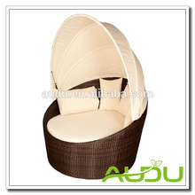Audu Rattan Outdoor Daybed - Modular Brown Rattan Daybed with Cushions