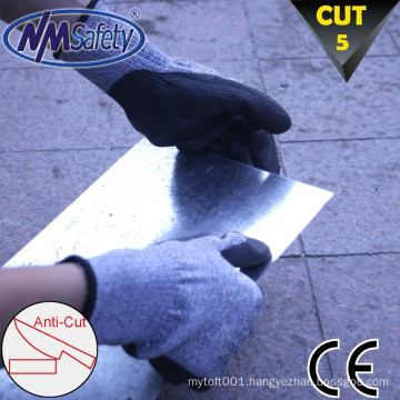 NMSAFETY cut level 5 knife glove coated pu soft style