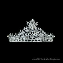 Commerce de gros de style indien couronne de mariage princesse strass diadème de ballet de mariée avec cristal