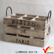 Solid Wood Wine Basket with 6 Compartment and Handle