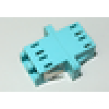 LC/UPC to LC/UPC 10G OM3 Duplex SC Type With Flange Plastic Fiber Optic Adapter , 0.1dB IL