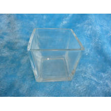 Suporte de vela de vidro quadrado Jar