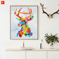 Pop Art Elk Colourful Moose Oil Painting