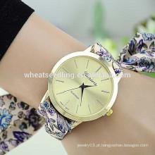 Vogue flor tecido faixa de quartzo senhoras característica watchly