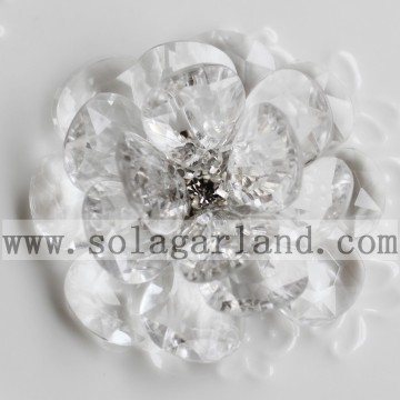 54MM Acrylic Crystal Beaded Flower Handmade Floral Bloom