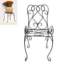 Metal complicado Linellae silla Decoración Jardín Flowerpot titular