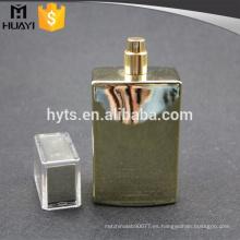 Botella de perfume de recubrimiento UV de oro de 100 ml con bomba y tapa