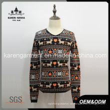 Gerippte Herren Langarm Rentier Weihnachten Pullover