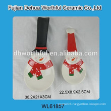 Christmas ceramic spoon holder with snowman design
