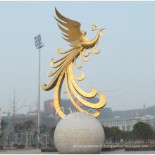 décoration extérieure morden style grand métal phénix statues à vendre