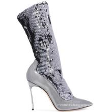 Winter Fashion Sexy High Heels Sequin PU Leather Short Elegant Pointed Toe Stilettos Elastic Boots