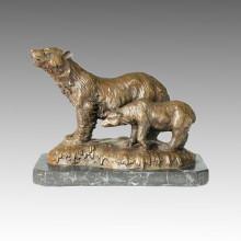 Statue en laiton d'animaux Mère-fils Tirage d'ours Branze Sculpture Tpal-073