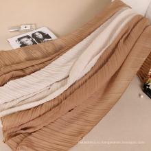 Новый стиль прибытие мода Рифленный хиджаб шарф Дубай премиум хлопок плиссированные хиджаб