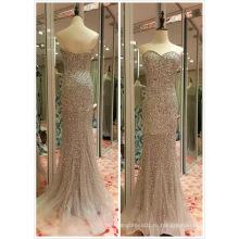 Лучшие продажи ЕС 32-40 тяжелых бисером серый вечернее платье