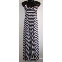Long Ladies / Womens Sexy Dress With Yarn Stripe Fabric