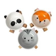Ceramic Pet Cat Dog Food Bowl With Stand
