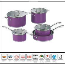 9PCS Color Coating Stainless Steel Cookware Set