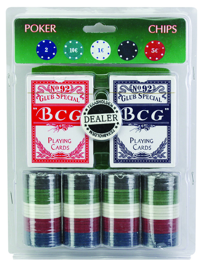 Cheap 100pcs Poker Chips Set With Blister Card Packing