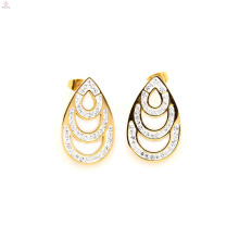 Neueste Edelstahl Gold Kristall Ohrringe Stud, Gold Wassertropfen Stud Schmuck