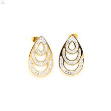 Le plus nouveau goujon de boucles d'oreille en cristal d'or d'acier inoxydable, goujon de goutte d'eau d'or