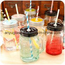 Tasse / tasse en verre pour boire avec le couvercle, pot de maçonnerie