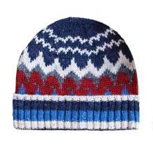Herren Weiche Stretch Slouch Wolle Winter Gestrickte Jacquard Warme Mütze Beanie Hut (HW426)