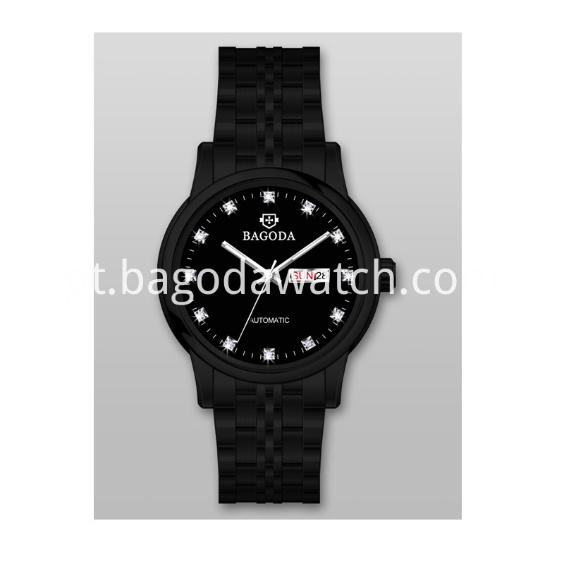 black metal watch