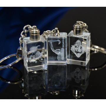 Llavero cuadrado de cristal del llavero del regalo de la promoción