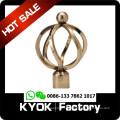 KYOK twist curtain rod finial , Metal Material and Iron Metal Type curtain pipe with iron curtain finial