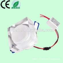 Alto eficiente 85-265V / 240V / 110V / 120V / 12V 7w cristal llevado abajo cuadrado ligero