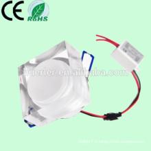 Haute efficacité 85-265V / 240V / 110V / 120V / 12V 7w cristal conduit vers le bas carré léger
